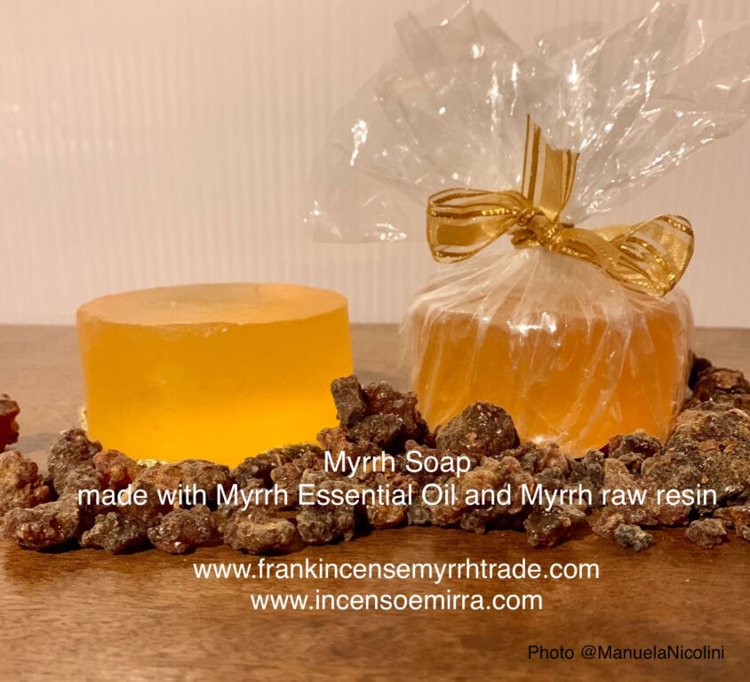 MYRRH SOAP MADE WITH MYRRH ESSENTIAL OIL AND MYRRH RAW RESIN.