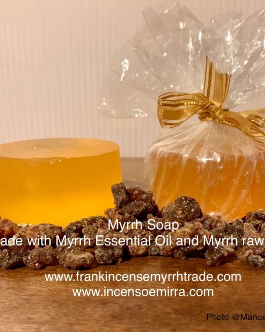 Myrrh Soap handmade with Myrrh Essential Oil and Myrrh raw resin. Myrrh Soap made in Oman, Aromatherapy with myrrh soap.
